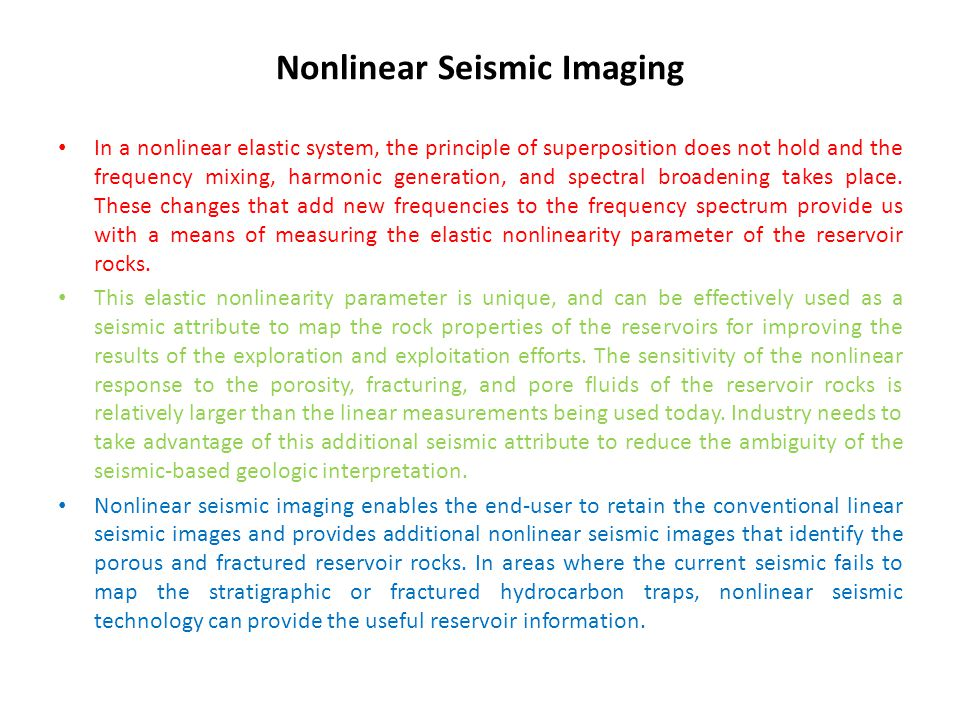 Nonlinear Seismic Imaging