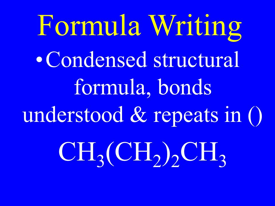 Condensed structural formula, bonds understood & repeats in ()