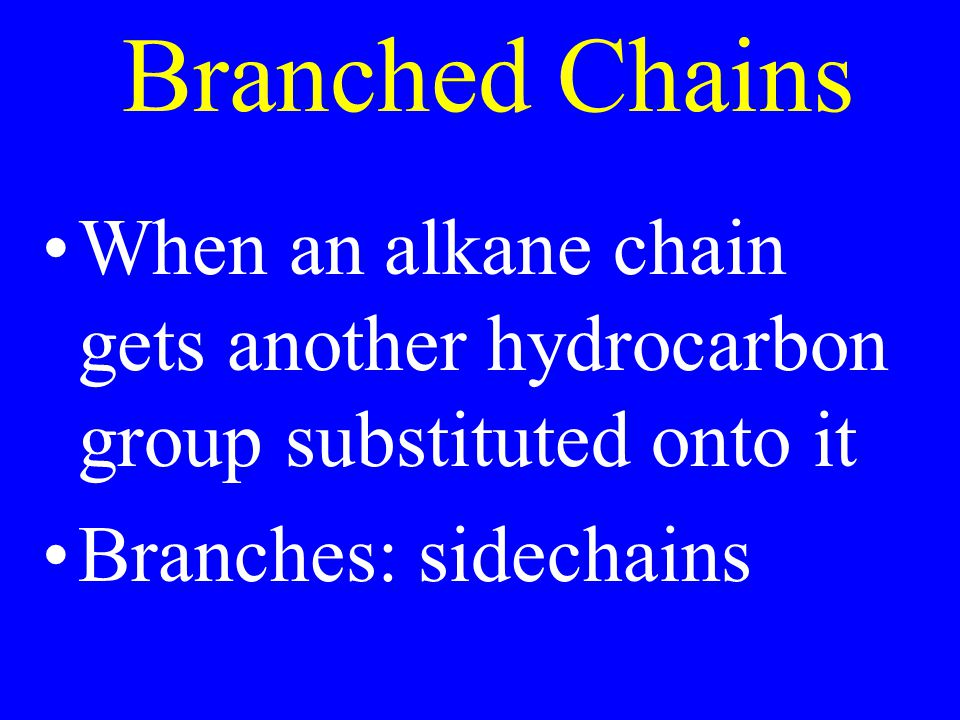 Branched Chains When an alkane chain gets another hydrocarbon group substituted onto it.
