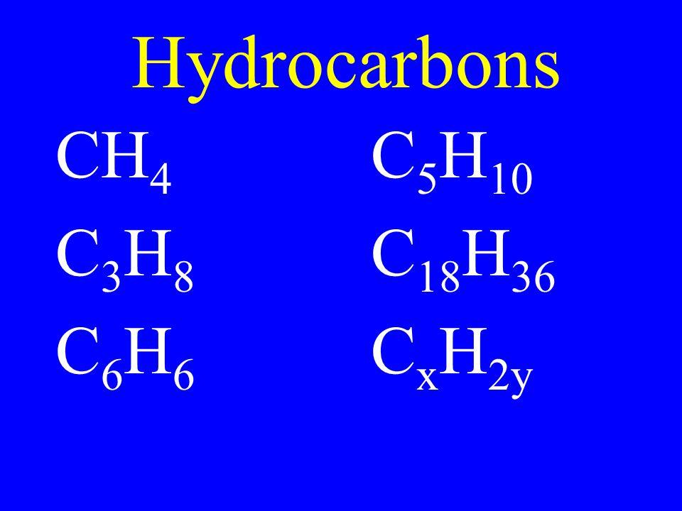 Hydrocarbons CH4 C5H10 C3H8 C18H36 C6H6 CxH2y