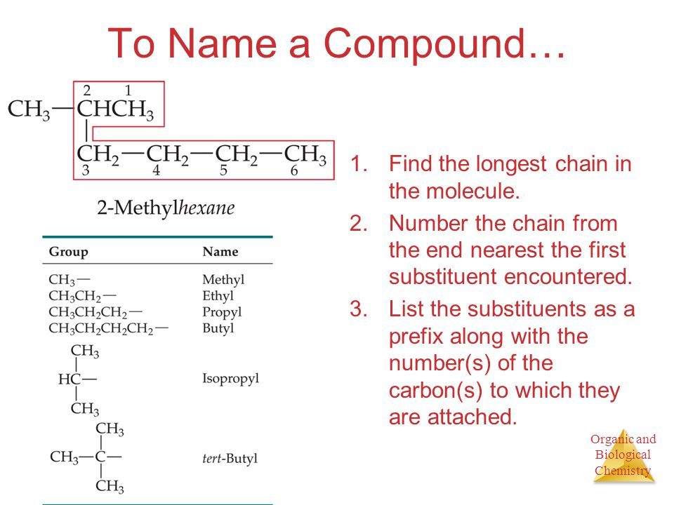 To Name a Compound… Find the longest chain in the molecule.