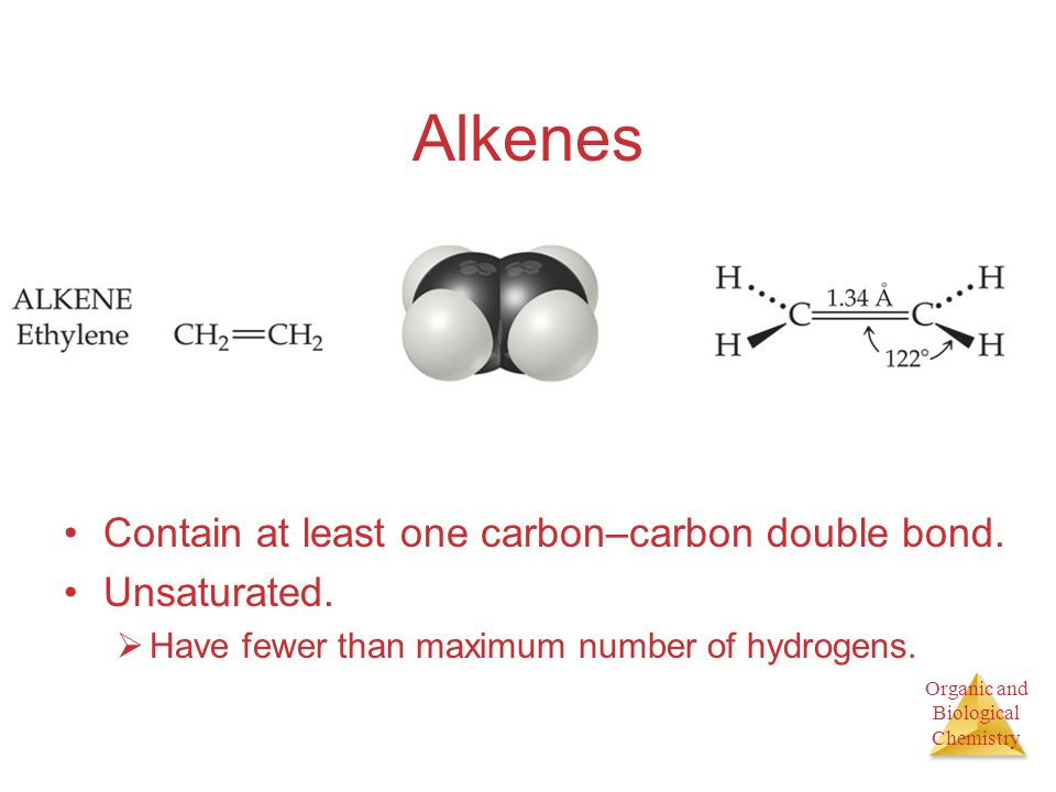 Alkenes Contain at least one carbon–carbon double bond. Unsaturated.