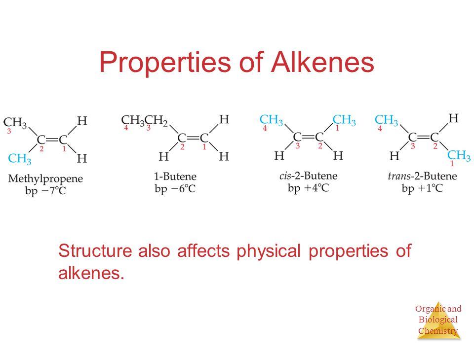 Properties of Alkenes Structure also affects physical properties of alkenes.