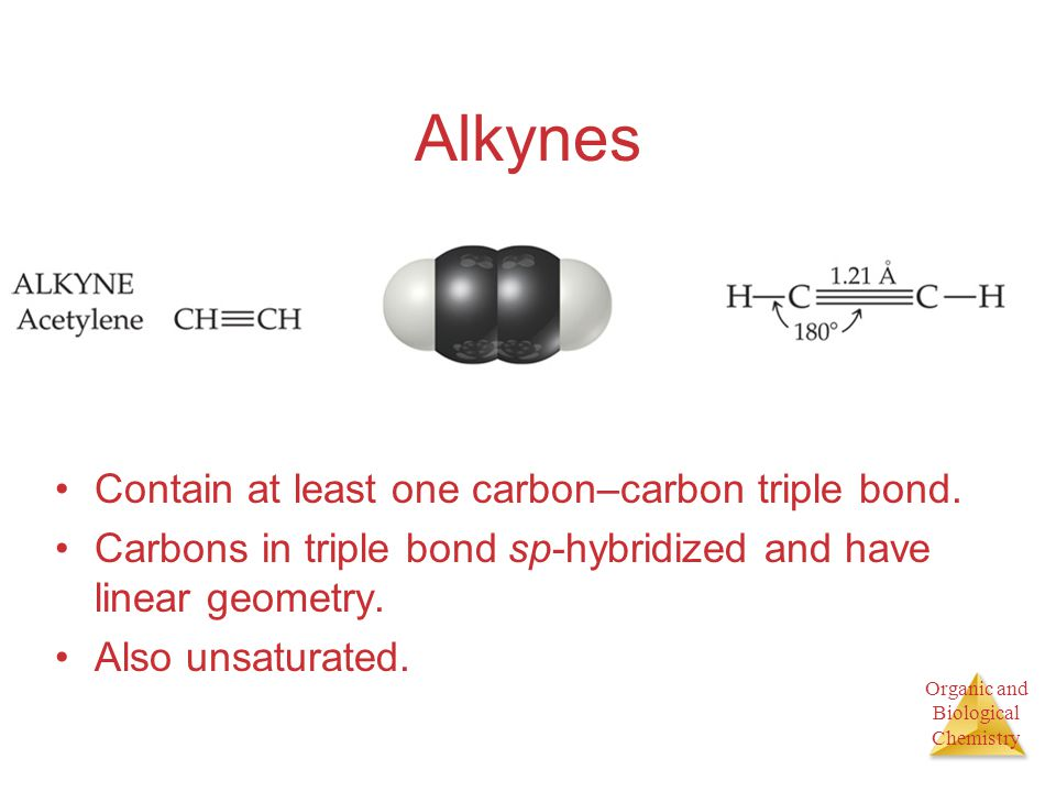 Alkynes Contain at least one carbon–carbon triple bond.