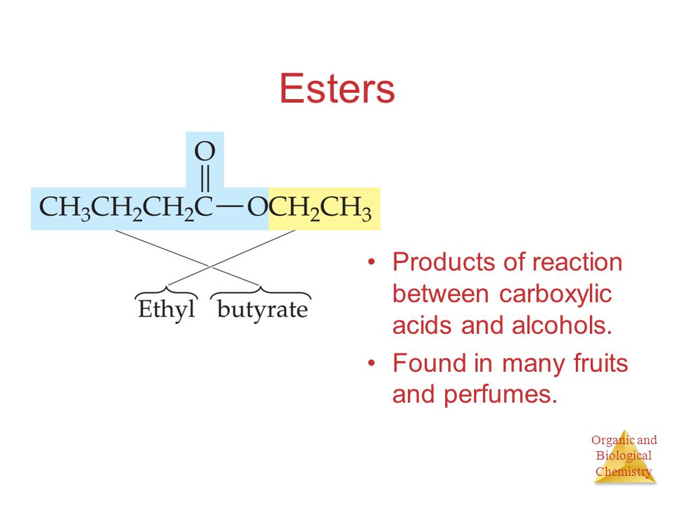Esters Products of reaction between carboxylic acids and alcohols.