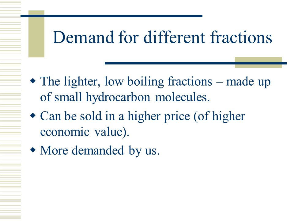 Demand for different fractions