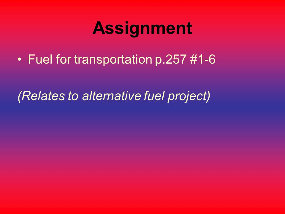 Assignment Fuel for transportation p.257 #1-6