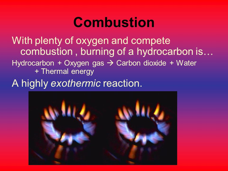 Combustion With plenty of oxygen and compete combustion , burning of a hydrocarbon is…