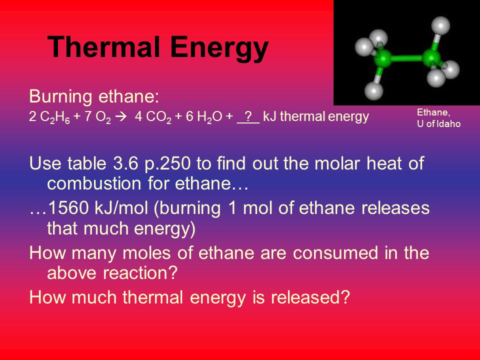 Thermal Energy Burning ethane: