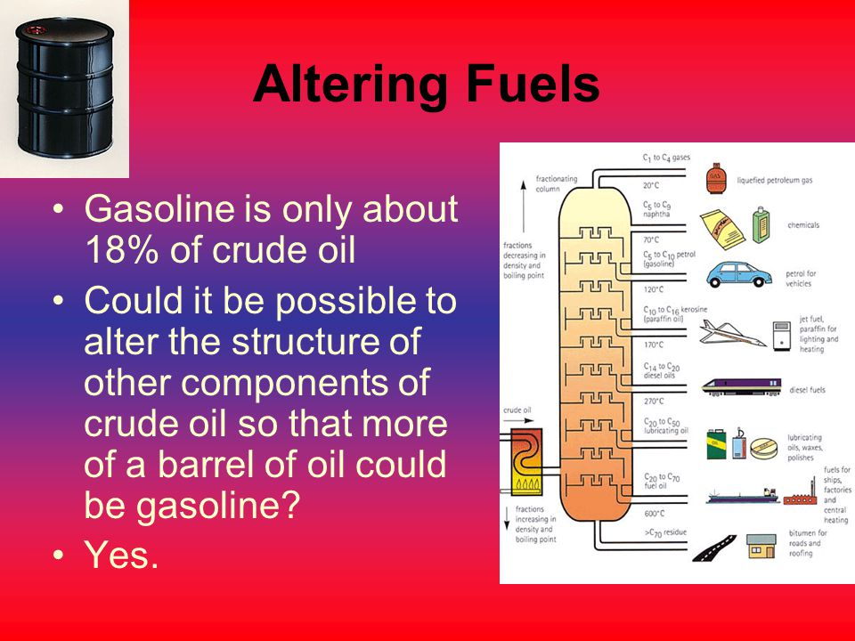 Altering Fuels Gasoline is only about 18% of crude oil