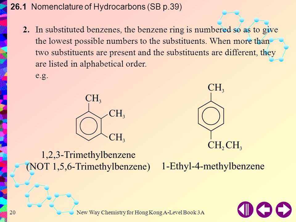 26.1 Nomenclature of Hydrocarbons (SB p.39)