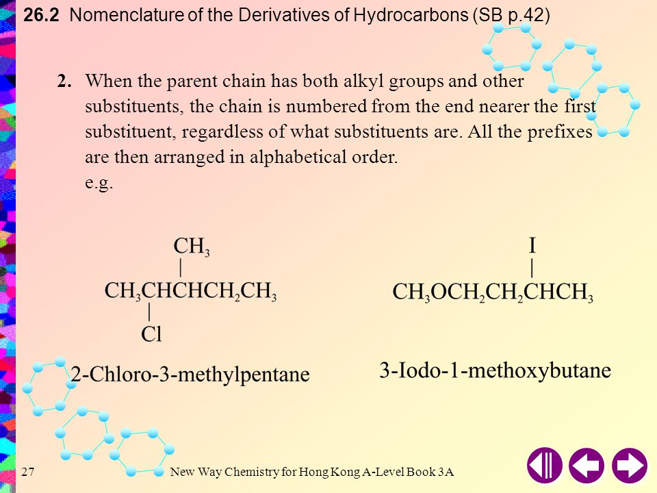 26.2 Nomenclature of the Derivatives of Hydrocarbons (SB p.42)