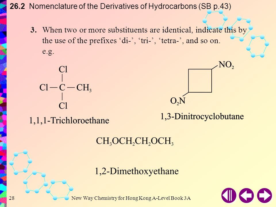 26.2 Nomenclature of the Derivatives of Hydrocarbons (SB p.43)