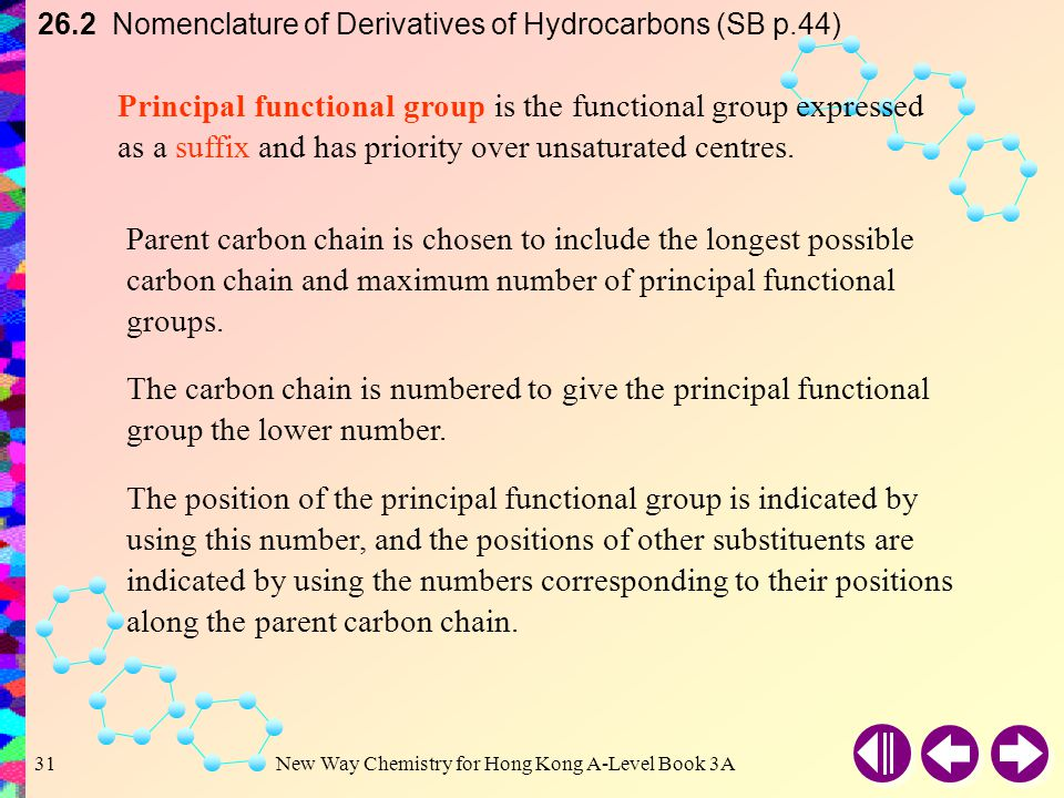 26.2 Nomenclature of Derivatives of Hydrocarbons (SB p.44)