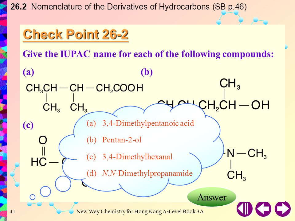 26.2 Nomenclature of the Derivatives of Hydrocarbons (SB p.46)