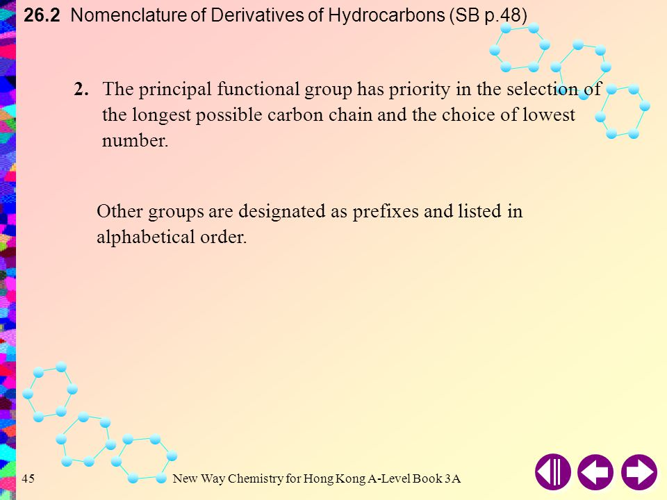 26.2 Nomenclature of Derivatives of Hydrocarbons (SB p.48)