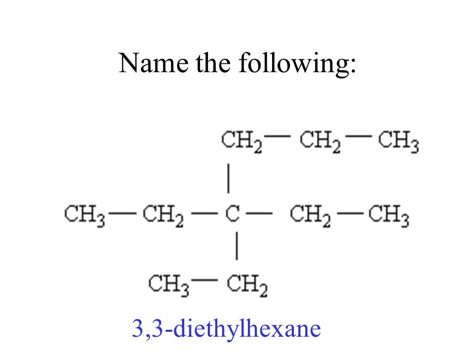 Name the following: 3,3-diethylhexane