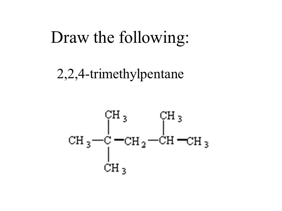 Draw the following: 2,2,4-trimethylpentane