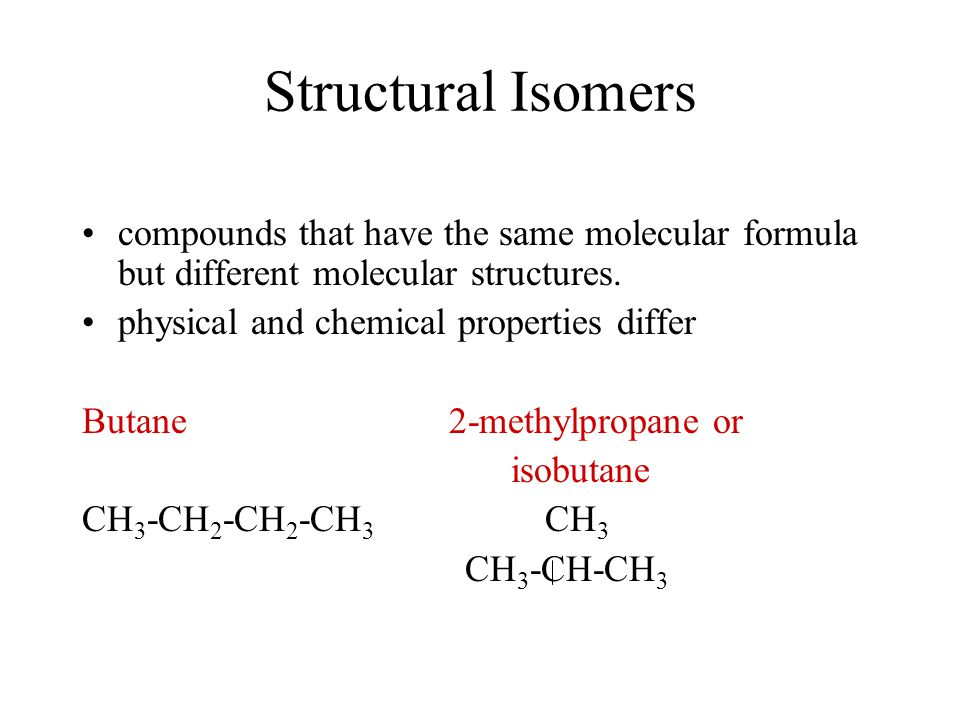 Structural Isomers compounds that have the same molecular formula but different molecular structures.