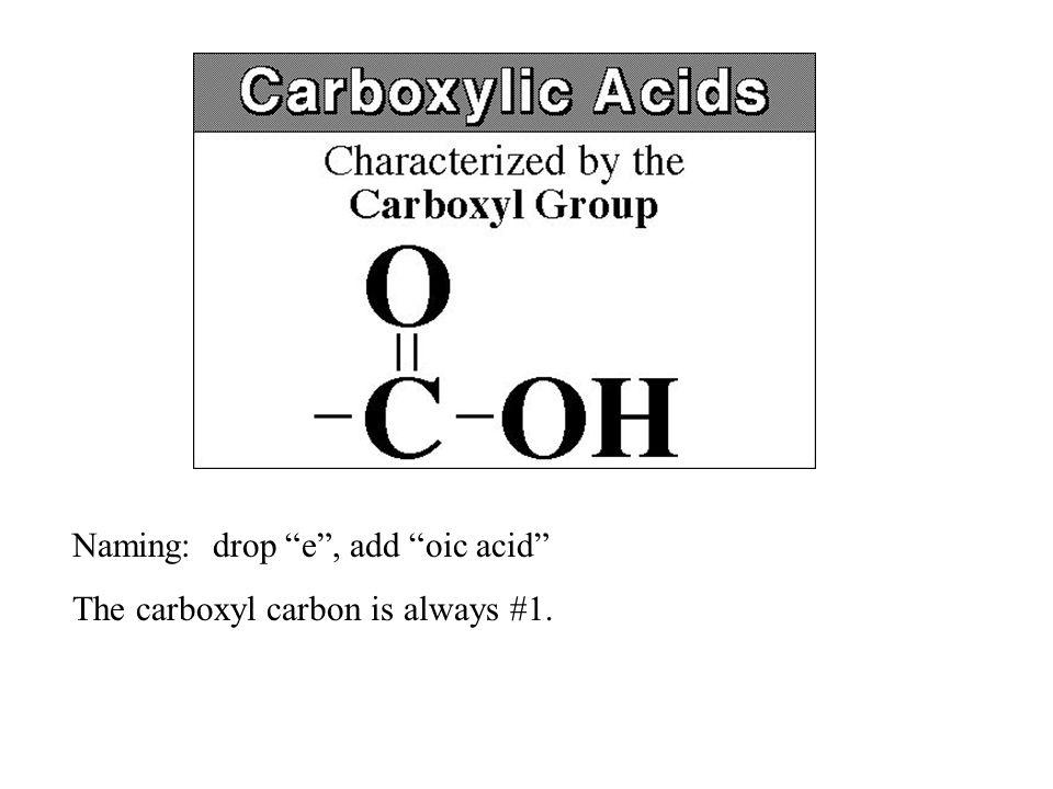 Naming: drop e , add oic acid