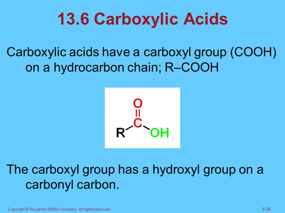 13.6 Carboxylic Acids Carboxylic acids have a carboxyl group (COOH) on a hydrocarbon chain; R–COOH.