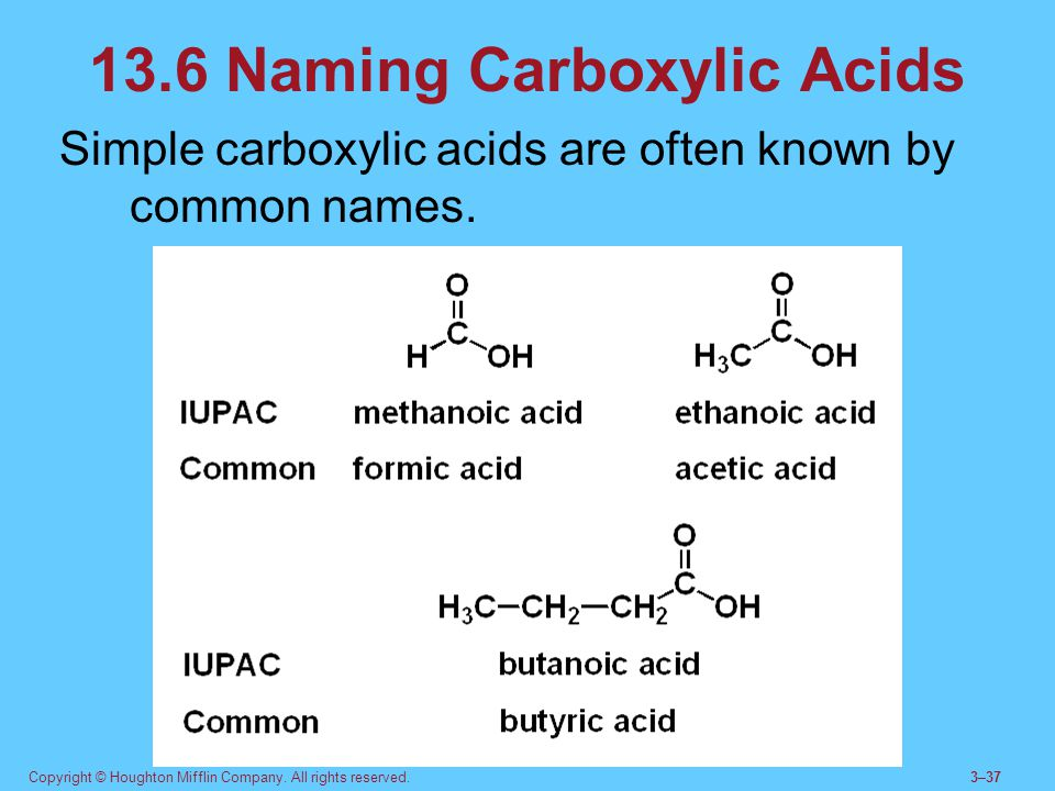 13.6 Naming Carboxylic Acids