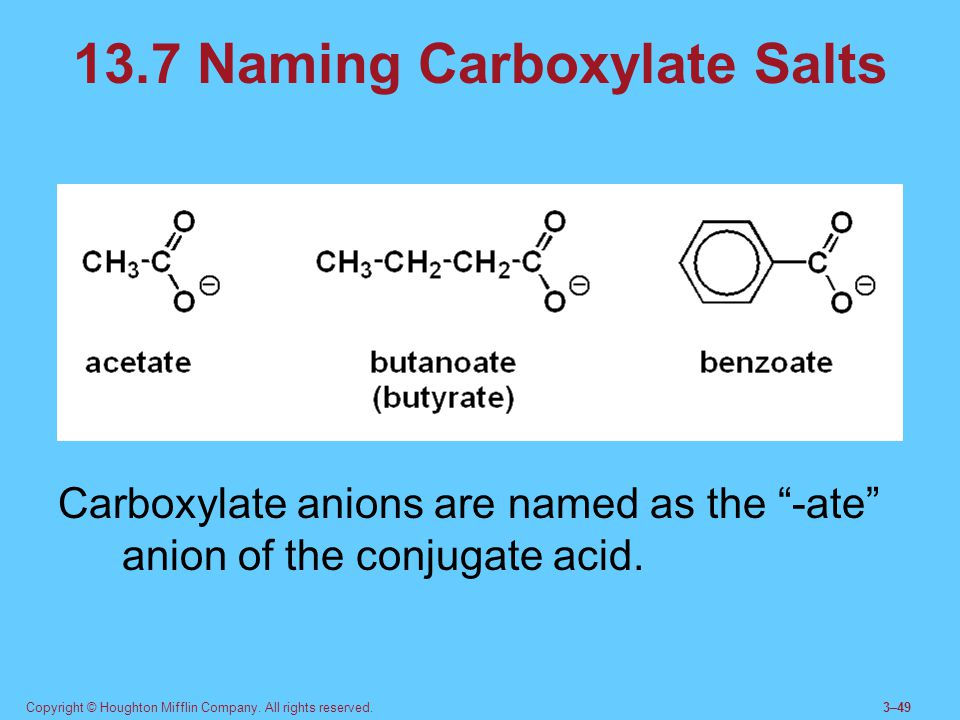 13.7 Naming Carboxylate Salts