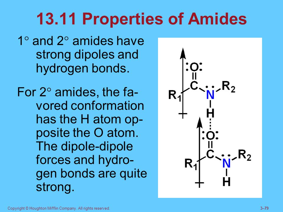 13.11 Properties of Amides 1 and 2 amides have strong dipoles and hydrogen bonds.