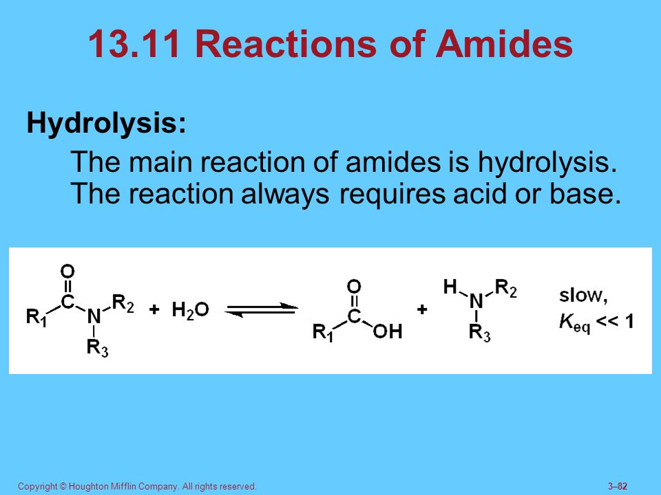 13.11 Reactions of Amides Hydrolysis: