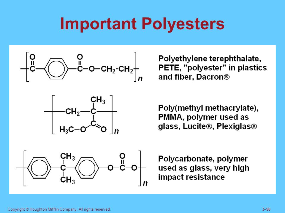Important Polyesters Polyesters are formed in reactions between diacids and diols. Polyamides are formed in reactions between diacids and diamines.