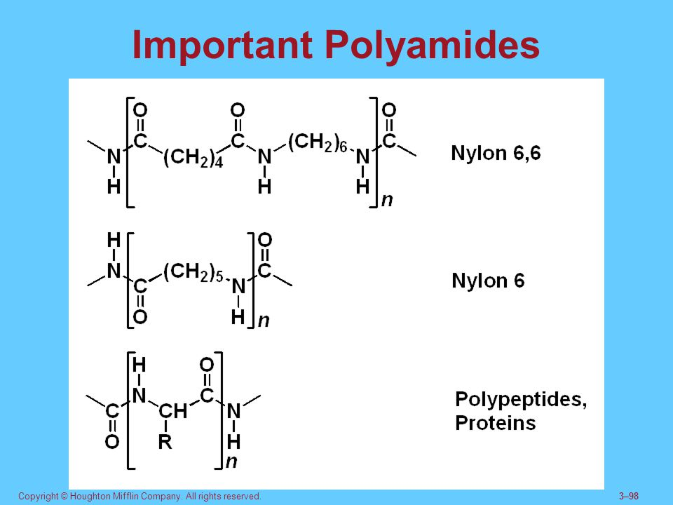 Important Polyamides Proteins and peptides are naturally-occurring polyamides formed from amino acids.