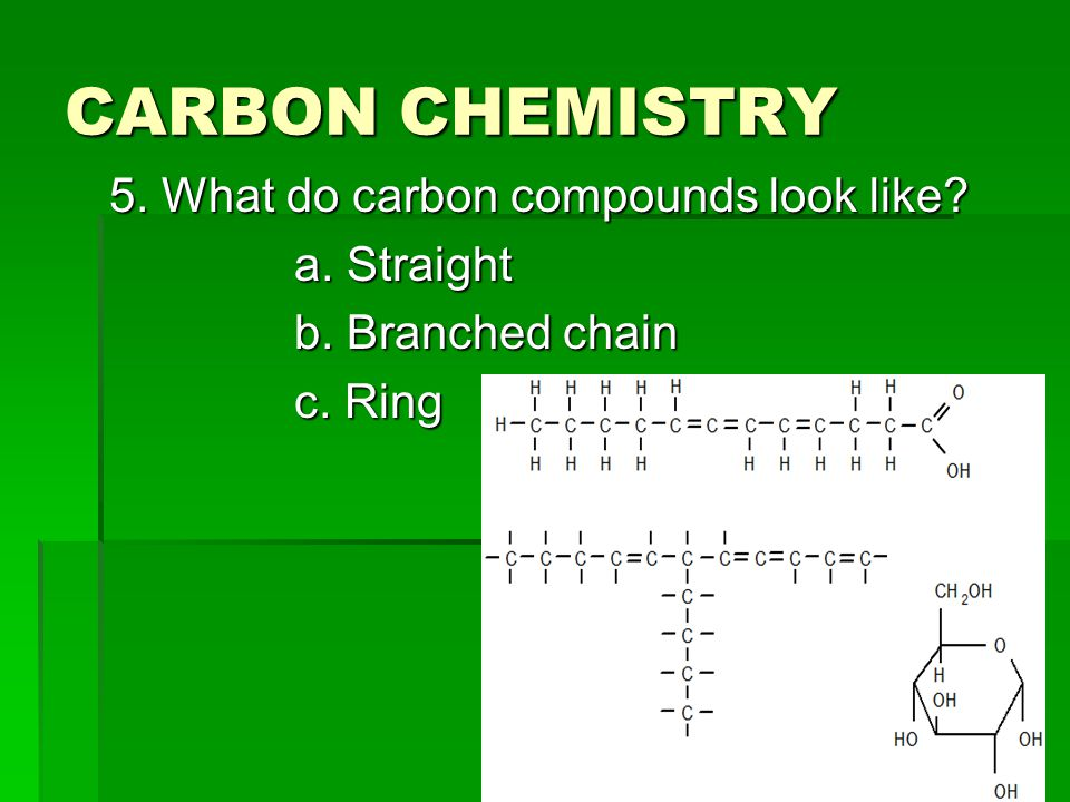 CARBON CHEMISTRY 5. What do carbon compounds look like a. Straight