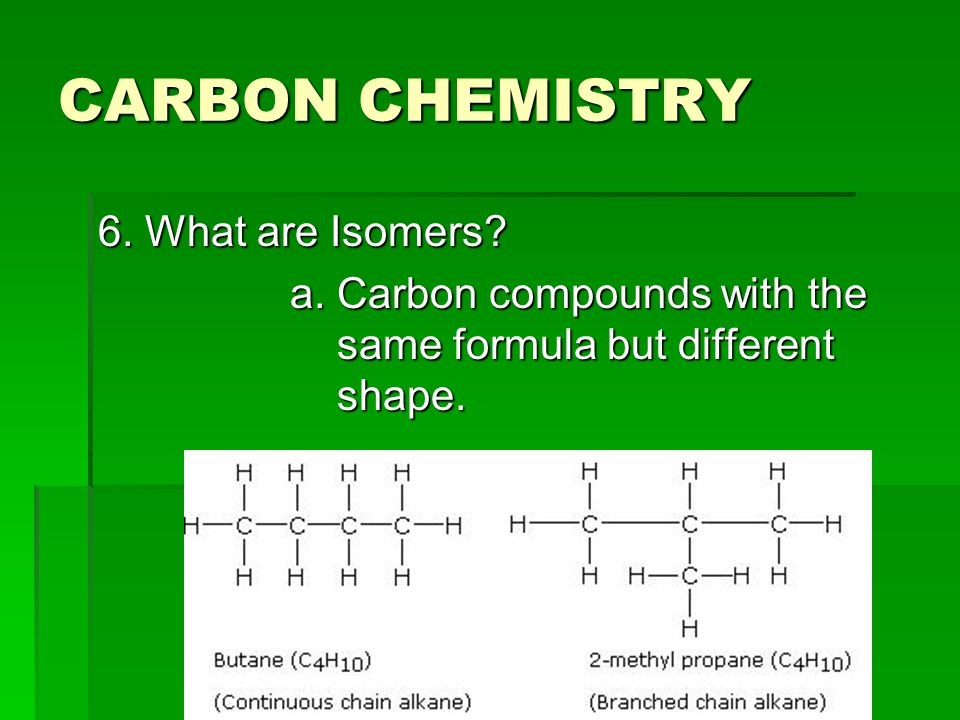 CARBON CHEMISTRY 6. What are Isomers
