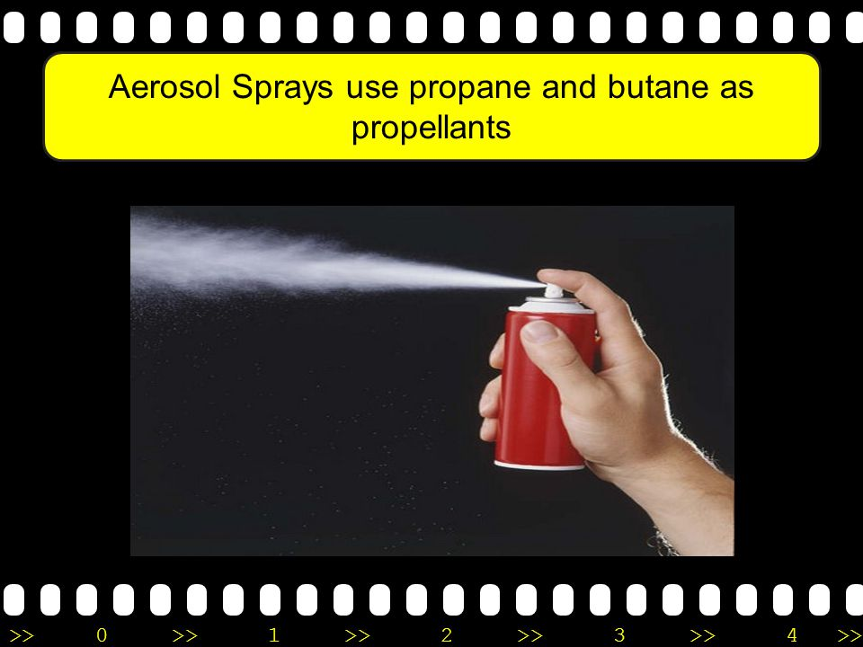 Aerosol Sprays use propane and butane as propellants