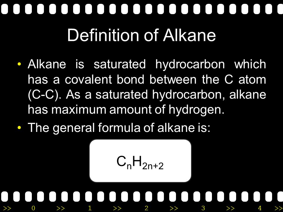 Definition of Alkane CnH2n+2