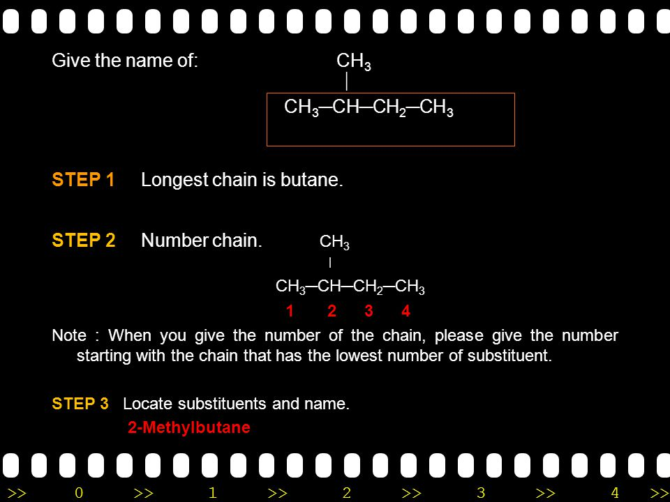 STEP 1 Longest chain is butane. STEP 2 Number chain. CH3