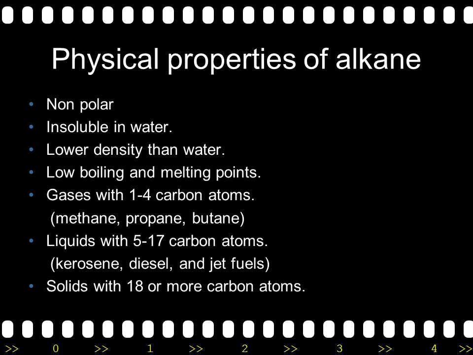 Physical properties of alkane
