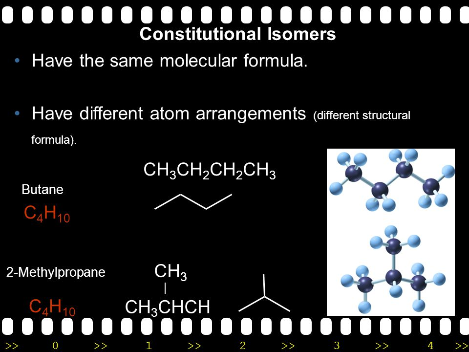 Constitutional Isomers Have the same molecular formula.