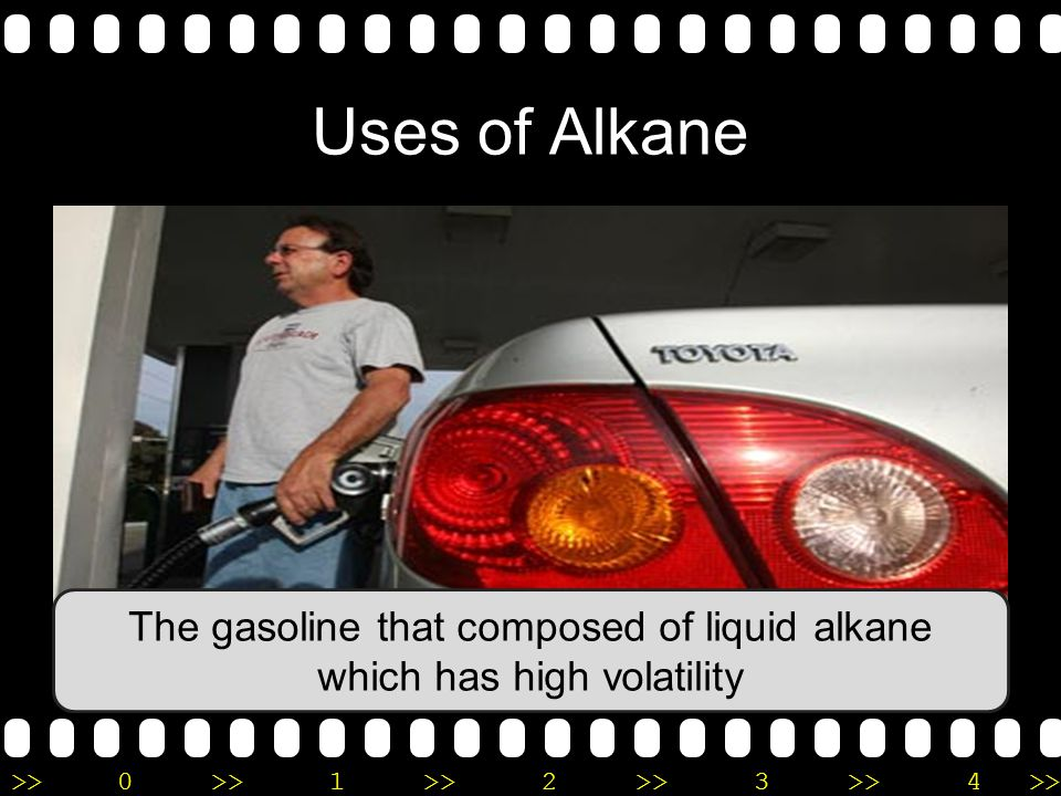 The gasoline that composed of liquid alkane which has high volatility