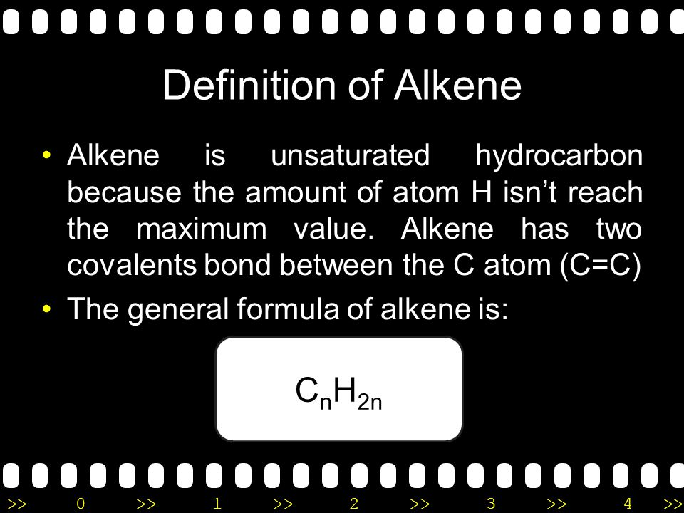 Definition of Alkene CnH2n
