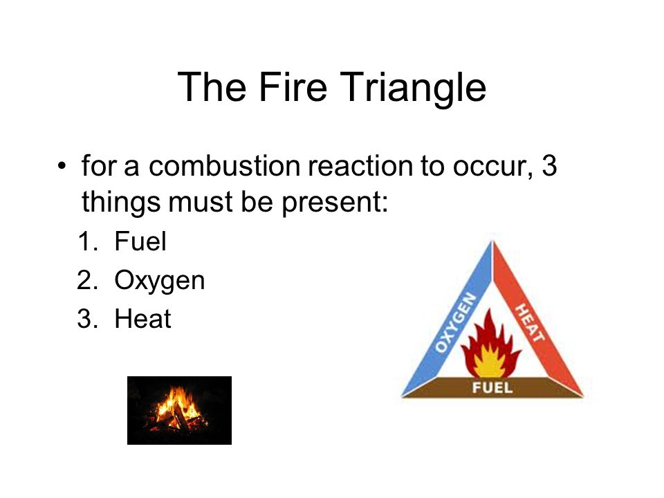 The Fire Triangle for a combustion reaction to occur, 3 things must be present: Fuel Oxygen Heat