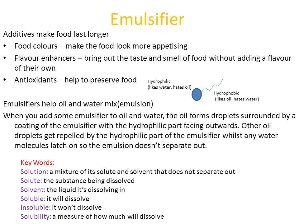 Emulsifier Additives make food last longer