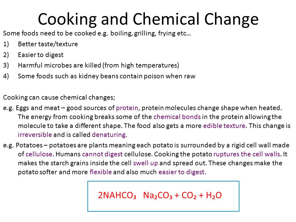 Cooking and Chemical Change
