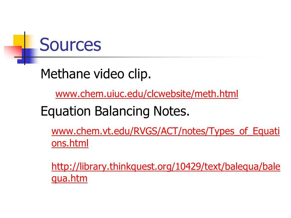Sources Methane video clip. www.chem.uiuc.edu/clcwebsite/meth.html