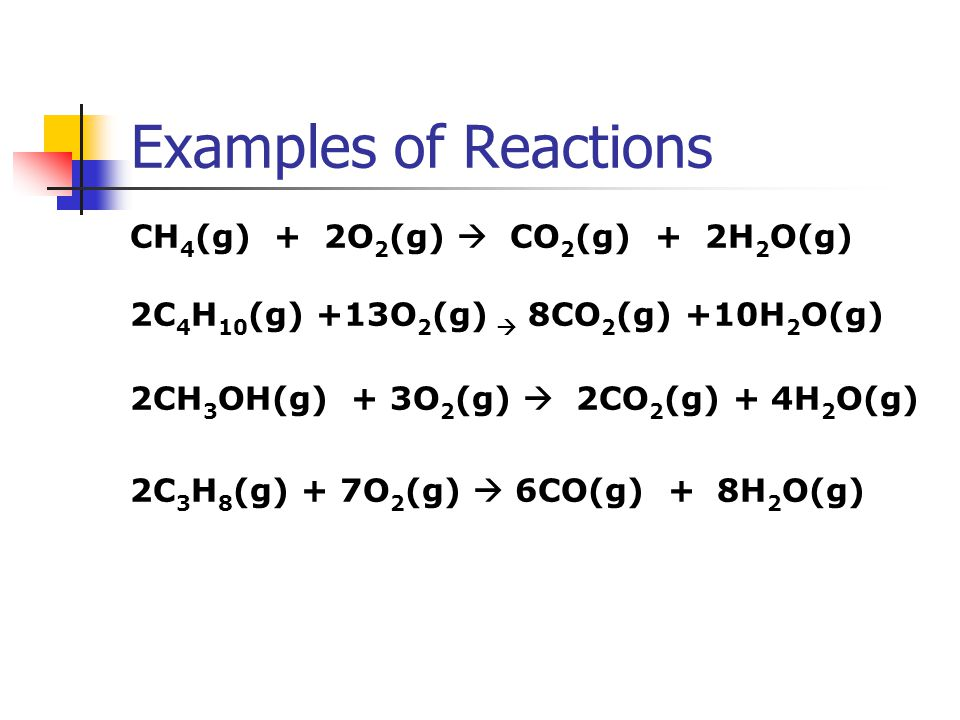 Examples of Reactions CH4(g) + 2O2(g)  CO2(g) + 2H2O(g)