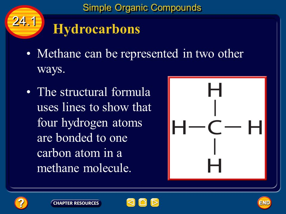 Hydrocarbons 24.1 Methane can be represented in two other ways.