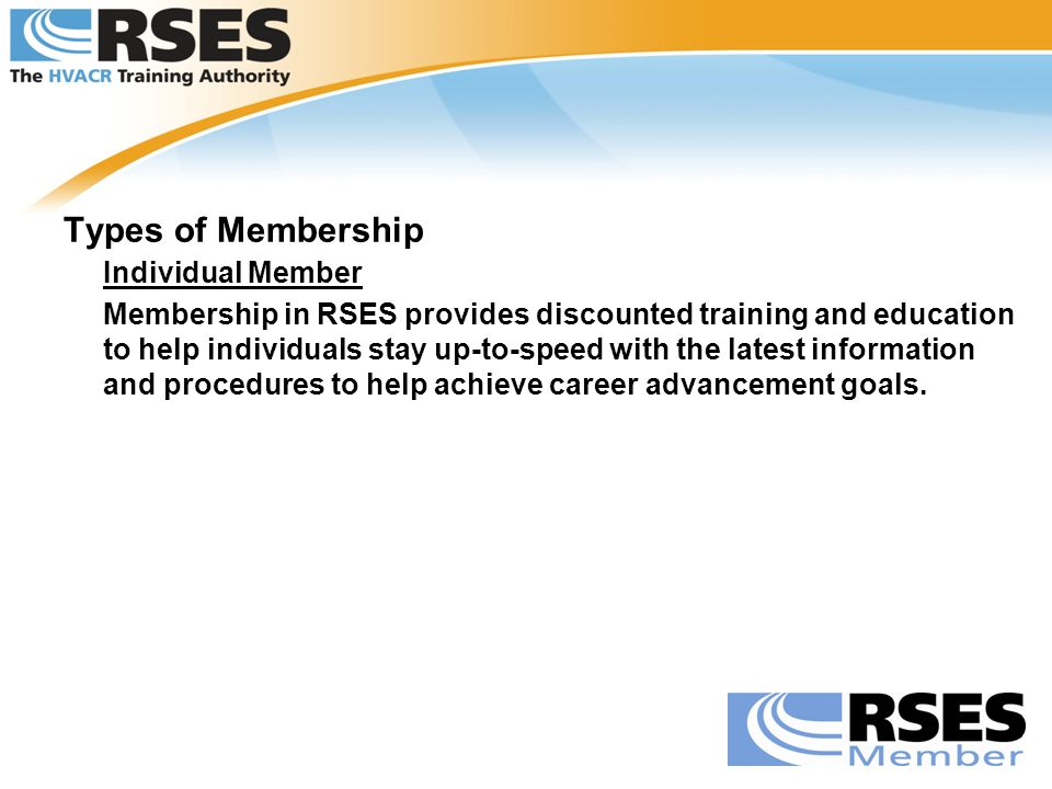 Types of Membership Individual Member.