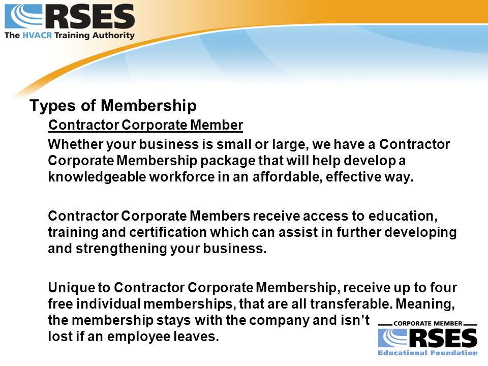 Types of Membership Contractor Corporate Member