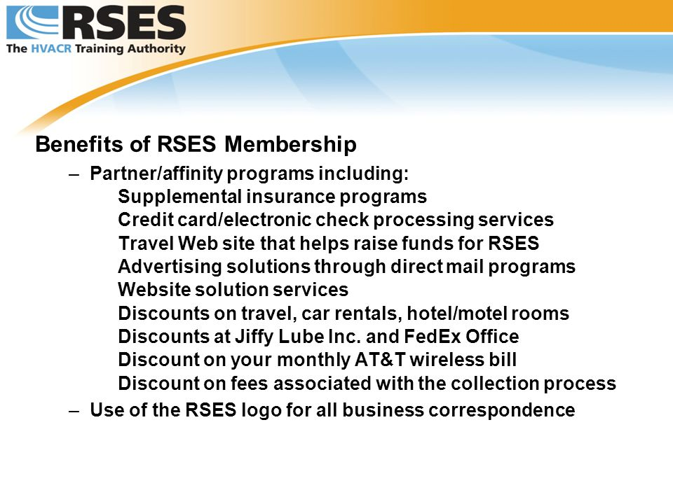 Benefits of RSES Membership
