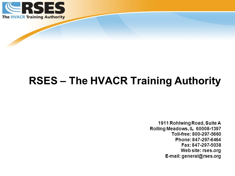 RSES – The HVACR Training Authority